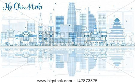 Outline Ho Chi Minh Skyline with Blue Buildings and Reflections. Vector Illustration. Business Travel and Tourism Concept with Modern Buildings. Image for Presentation Banner Placard.