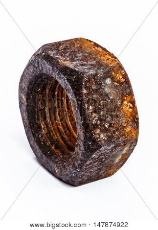 The Old rusty nut on white background.