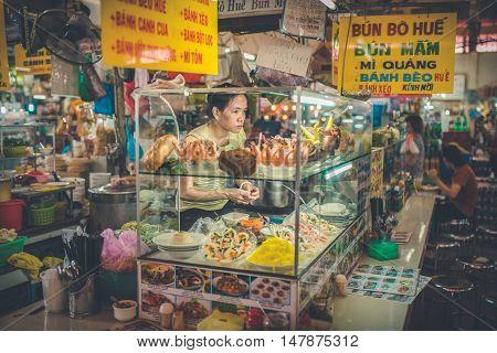 SAIGON VIETNAM JUNE 26 2016: inside the Ben Thanh Market in Saigon.
