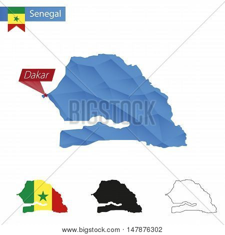 Senegal Blue Low Poly Map With Capital Dakar.