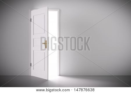 Light coming from half open classic white door. Concepts of new life, hope, religion etc. 3D illustration
