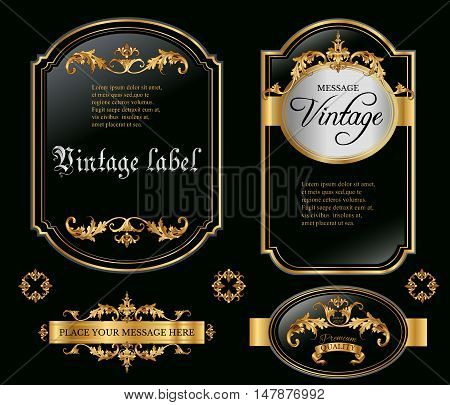 Vector vintage gold framed labels set. Golden on black. Baroque style premium quality label collection. Best for chocolate, cocoa, alcoholic beverages and tobacco. Vector illustration
