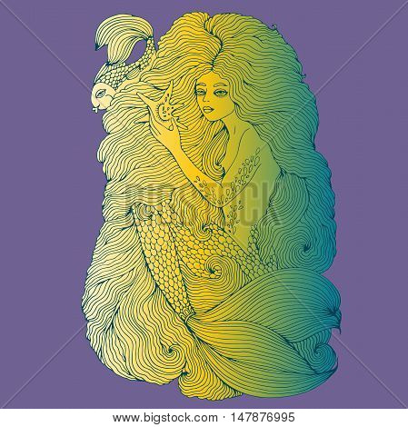 Vector drawing fantastic sea mermaid with long wavy hair holding a seashell. Ornamental decorated graphic illustration of a mermaid tattoo. Mermaid sea nymph.   Fairy tale characters.