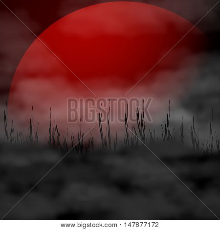Halloween background - full blood moon and fog. Vector illustration