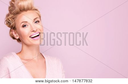 Beauty Portrait Of Smiling Blonde Woman.