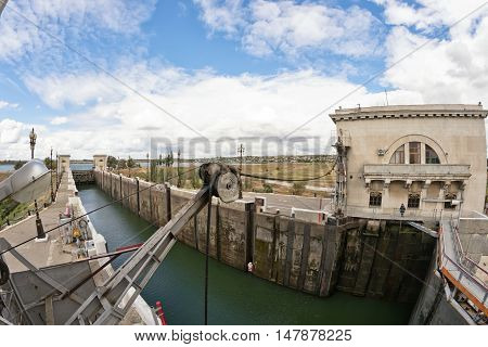 Empty Airlock Sluice Of Volgo-don Shipping Canal Is Prepared To Receive The Barge