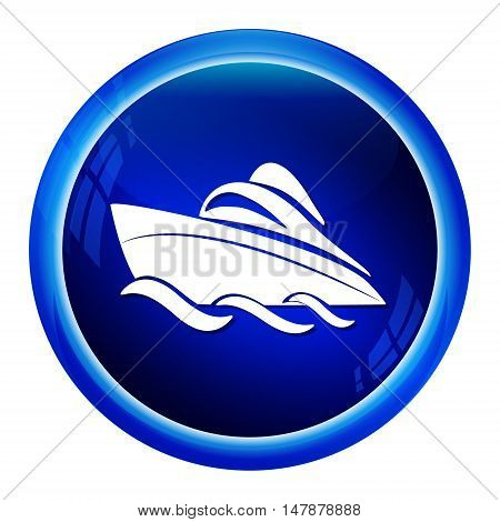 Speedboat symbol icon blue button vector illustration