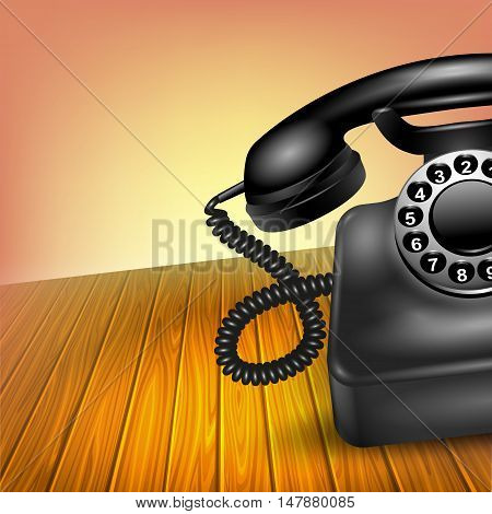 Old telephone concept realistic black half vintage dial phone on wooden table vector illustration