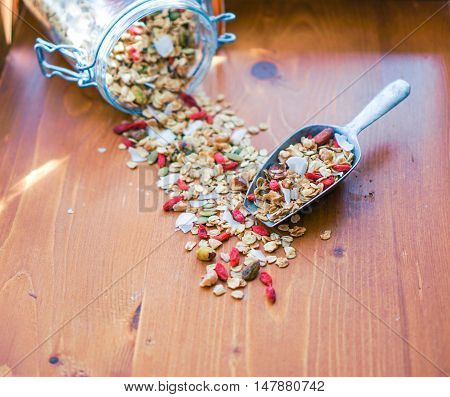 Healthy Homemade Granola in a Jar and Scoop with Nuts and Gogi Berries