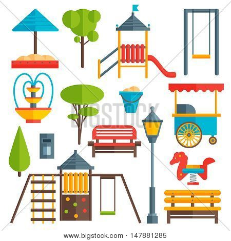 City park flat elements set with green trees benches and street lights childrens playground isolated vector illustration