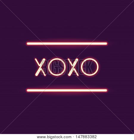 xoxo neon font icon. Text typography decoration and advertising theme. Colorful design. Vector illustration
