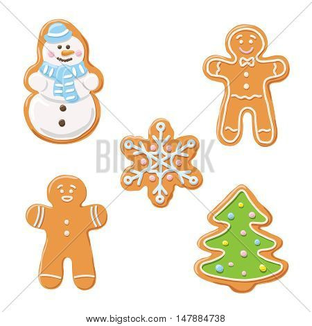 Sweet decorated new year gingerbread cookies icons set isolated on white background. Christmas tree and snowflake, ginger man, snowman. Vector illustration.