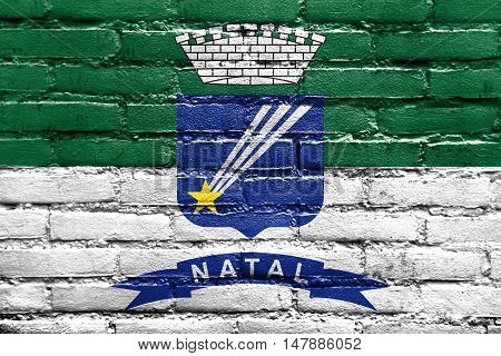 Flag Of Natal, Rio Grande Do Norte, Brazil, Painted On Brick Wall