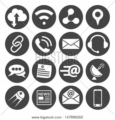 Connection and communication icons set 16 vector signs on dark round pad eps 8