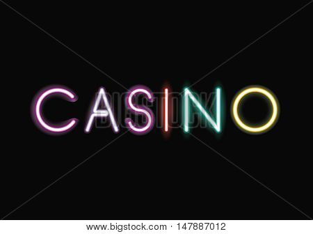 Casino neon font icon. Text typography decoration and advertising theme. Colorful design. Vector illustration