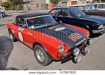 GAMBETTOLA FC ITALY - SEPTEMBER 3: vintage Italian racing car Fiat Abarth 124 Sport Rally of the seventies in classic car rally during the festival