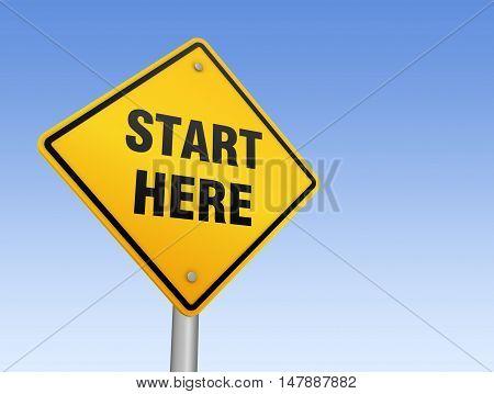 start here road sign 3d concept illustration on sky background
