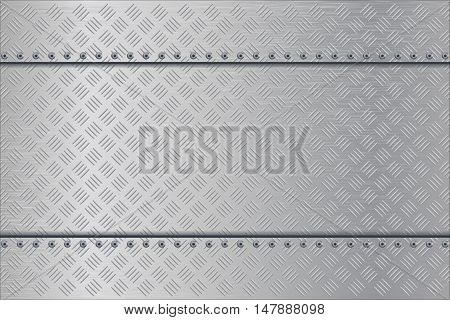 Metal background. Non slip rivetted surface. Vector illustration