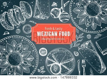 Mexican food frame. Mexican food vector illustration. Linear graphic style. Drawn on a chalkboard.