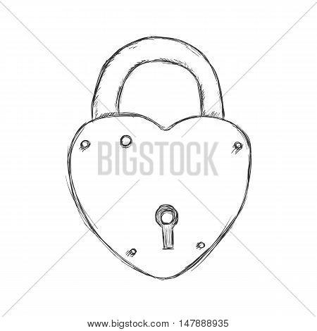 Vector Single Sketch Heartshape Padlock