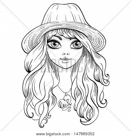 Vector beautiful fashionable girl in hat with long curly hair