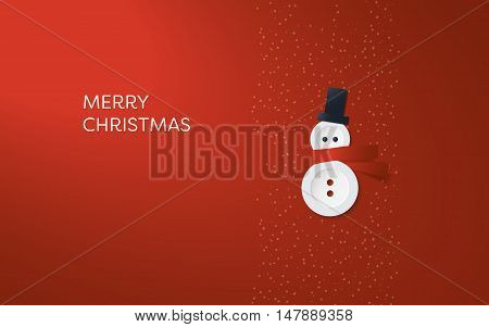 Simple, minimalistic Christmas card vector template. Cute adorable snowman made of buttons on red background. Eps10 vector illustration.
