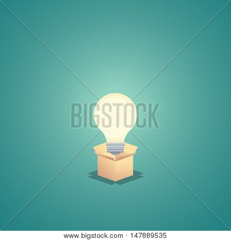 Think outside the box business concept vector background with lightbulb. Creativity and creative solutions abstract symbol. Eps10 vector illustration.