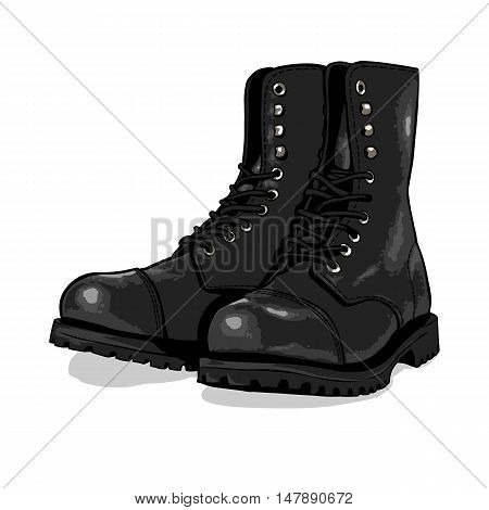 Vector Cartoon Army Boots