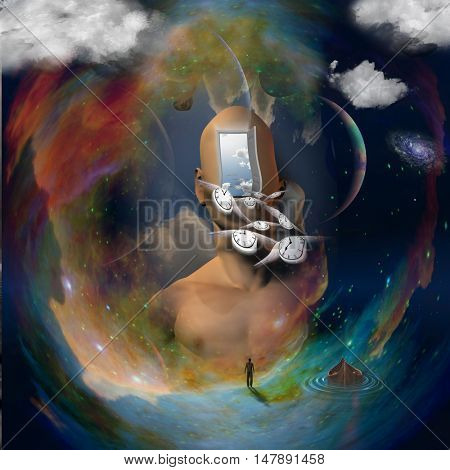 Abstract painting. Man's head with open door to another world. 3D Render  Some elements provided courtesy of NASA