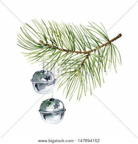 Christmas composition of fir branches and balls. Watercolor illustration