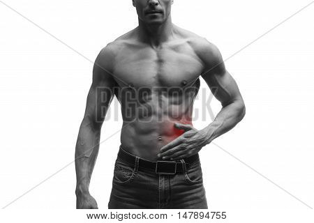 Attack of appendicitis pain in left side of muscular male body isolated on white background black and white photo with red dot