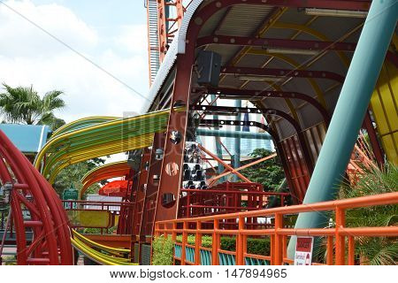Roller coaster in Siam Park Bangkok in Thailand