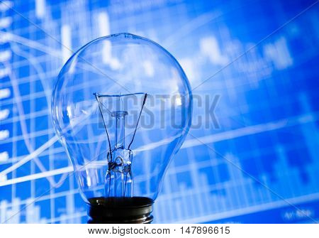 Light Bulb and Business Graphs on Background