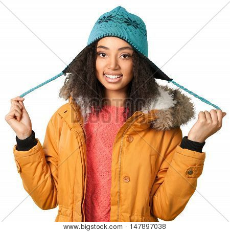 Young African American Woman in Winter Clothing - Isolated