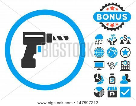 Drill icon with bonus elements. Glyph illustration style is flat iconic bicolor symbols, blue and gray colors, white background.