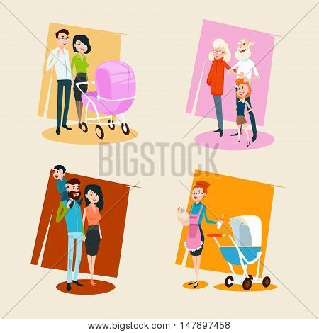 Family Set Parents With Small Children Grandparents Flat Vector Illustration