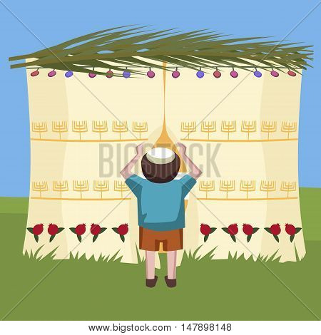 jewish boy peeking in tabernacle - colorful cartoon vector illustration