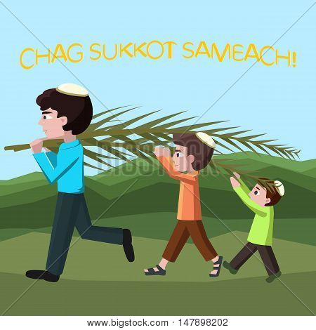 Jewish boys building tabernacles, happy sukkot - vector cartoon illustration