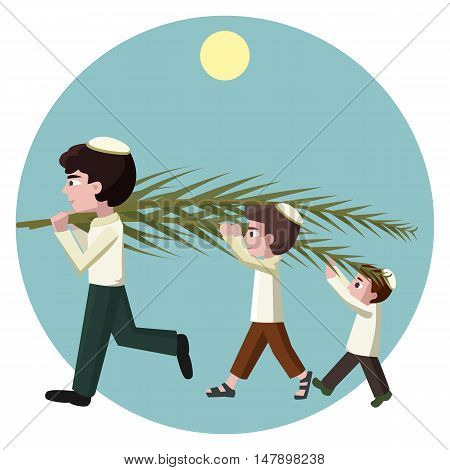 Jewish boys building tabernacles, sukkot greeting card - vector carton illustration