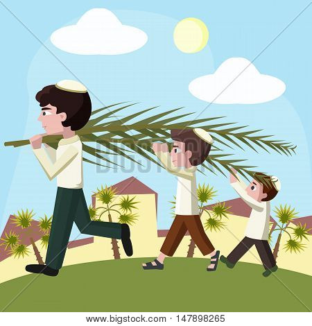 Jewish boys building tabernacles, sukkot holiday cartoon vector illustration
