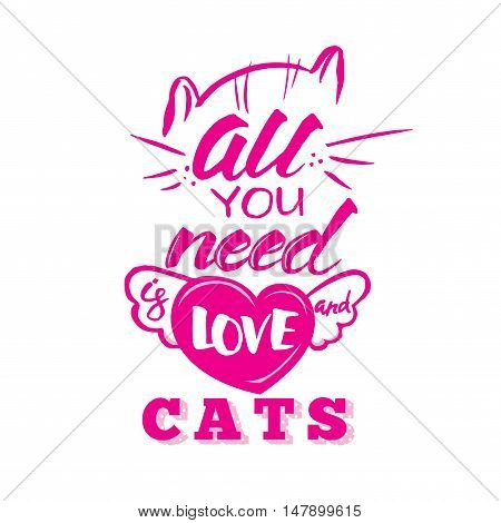 Positive poster with lettering. All you need is love and cat handmade scribble calligraphy text. Hipster style star burst with ray background.