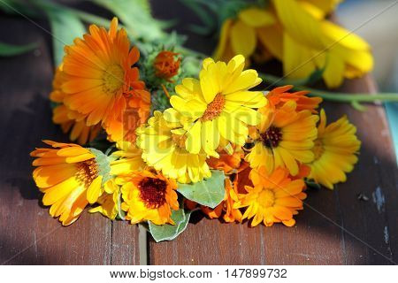 Bouquet of calendula flowers on wooden table.