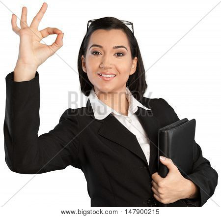 Portrait of a Smiling Businesswoman Making an OK Sign
