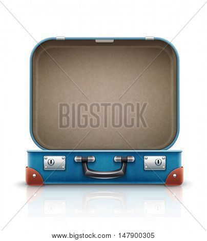 Open old retro vintage suitcase for travel. Isolated on white background. Rasterized illustration