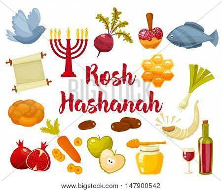 Rosh Hashanah, Shana Tova or Jewish New year cartoon flat vector icons set.Traditional symbols of Jewish new year holiday Rosh Hashanah