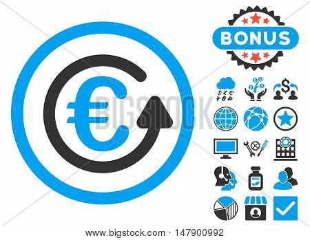 Euro Chargeback icon with bonus symbols. Glyph illustration style is flat iconic bicolor symbols, blue and gray colors, white background.