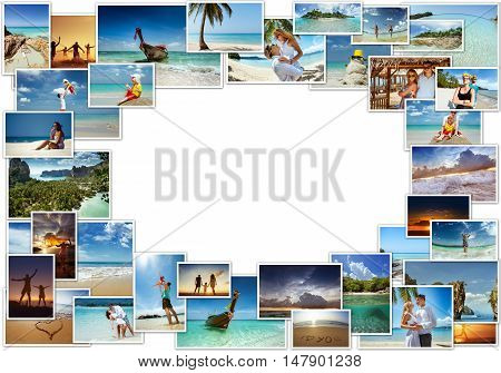 Tropical photos concept collage with happy people
