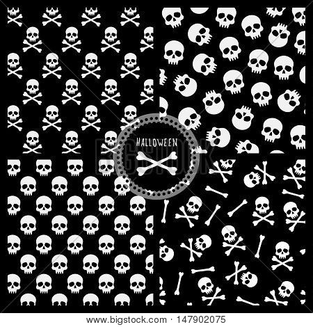 set of black and white vector seamless pattern for halloween, four patterns with skulls