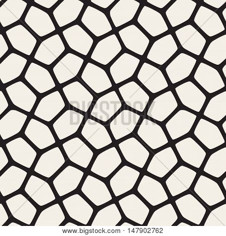 Vector Seamless Black and White Rounded Mosaic Pattern. Abstract Geometric Background Design