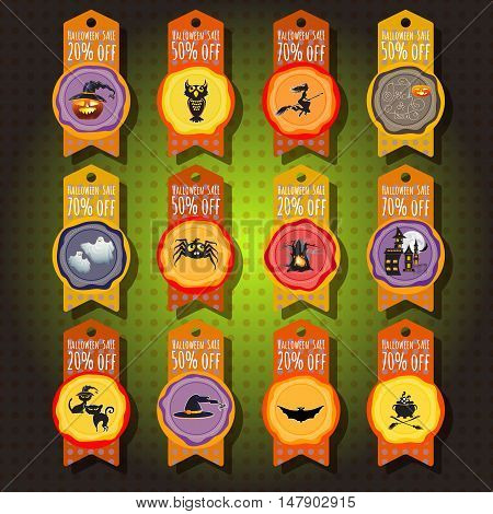 Vector set of sale, discount or offer tags, sticker or labels for Halloween. Special sale price tags. Halloween sale offer design template.